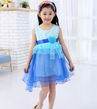 Stylish and fashionable blue color designer wedding party dress for little princess.