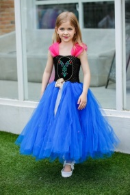 Fashionable and stunning royal blue colored designer net wedding dress comes with a black bodice with net sleeves.