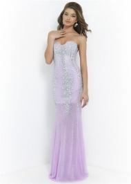 Lilac Long Crystal Stones Beaded Strapless Sheer Skirt Blush 9912 Mermaid Prom Dress