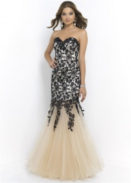 Black Nude Lace Applique Fitted Blush 9957 Strapless Mermaid Dress 2015