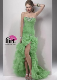 Pleated Organza Ruffled Green High Low Beaded Evening Dress 2015