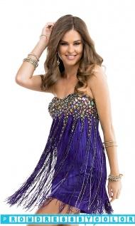$213 Black Prom Dresses - Short Strapless Sweetheart Fringe Dress at www.promdressbycolor.com