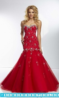 $210 Red Prom Dresses - Long Strapless Drop Waist Formal Gown at www.promdressbycolor.com
