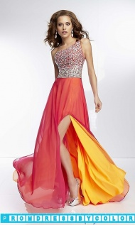 $203 Red Prom Dresses - Long One Shoulder Layered Chiffon Gown at www.promdressbycolor.com