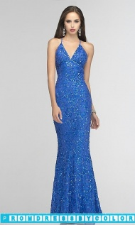 $283 Black Prom Dresses - Sequin Gown with Open Back by Scala 47542 at www.promdressbycolor.com
