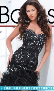 $193 Black Prom Dresses - Long Black Strapless Ruffled Dress at www.promdressbycolor.com