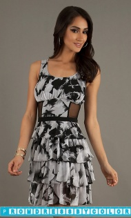 $149 Red Prom Dresses - Short Tiered Print Dress at www.promdressbycolor.com