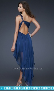$170 Red Prom Dresses - La Femme Short One Shoulder Dress at www.promdressbycolor.com