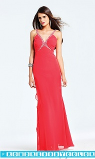 $173 Red Prom Dresses - Long Ruffle Dress by Faviana 6564 at www.promdressbycolor.com