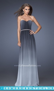 Long Ombre Strapless Sweetheart Dress