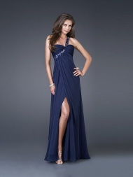 A-line/Princess Sweetheart One-shoulder Floor-length Chiffon Dress