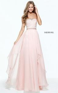 2017 Embellished Sherri Hill 51052 Blush Beads Strapless Prom Dress Cheap