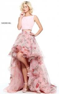 2-Piece Long Sherri Hill 51098 Blush Floral Print 2017 Hi-Low Ruffled Dress