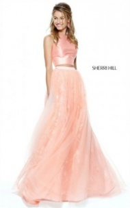 2017 Coral Sherri Hill 50787 Lace Sheer 2 PC Prom Dress With Sexy Cutout