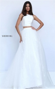 2017 Long Sherri Hill 50787 White Lace A-line Two Piece Dress Junior Prom
