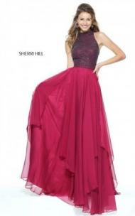 2017 Halter Sherri Hill Ruby 50808 Chiffon Cutout Long Dress Prom Queen