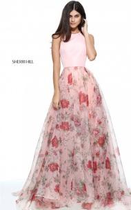 2017 Halter Sherri Hill 51201 Blush Floral A-line Multi Print Long Prom Dress