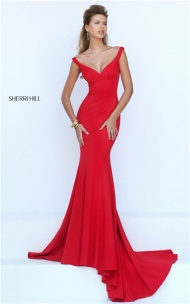 Plunging Slim Low Back Red Long Mermaid Dress by Sherri Hill 50441