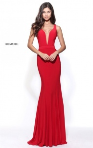 2017 Cheap Sherri Hill 51096 Red Beaded Fitted Long Dress Prom Queen