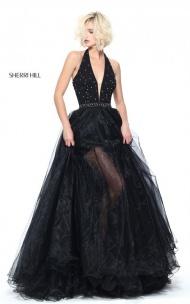 2017 Halter Open Back Sherri Hill 51102 Black Beads Multi Layered Long Gown