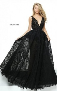 2017 Sheer Appliqued Sherri Hill 50836 Plunged Black Floral Ball Gown