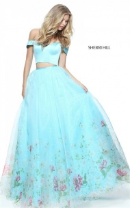 2017 Long Aqua Print Off Shoulder Two-Piece Prom Dress By Sherri Hill 51053