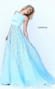 Light Blue/Multi Sherri Hill 50434 V-Back Long Floral Print Prom Gown 2017