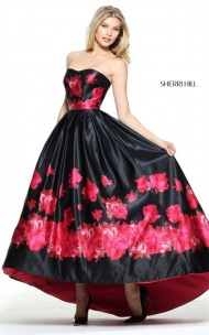 2017 Sherri Hill 51055 Black/Red Flowers Print Strapless Hi-Low Prom Gown
