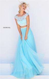 Mint Sherri Hill Style 50038 Long Jeweled 2 Piece Prom Dress Online Sale