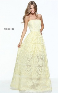 2017 Yellow Embellished Sherri Hill 50878 Strapless Lace Long Dress For Juniors