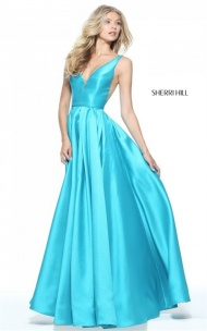 2017 Sherri Hill 51120 Plunged Neck Turquoise Long A-line Prom Dress Cheap