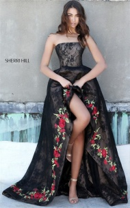 Black Lace Embellished Hi-Low Style 51252 Strapless Prom Dress By Sherri Hill