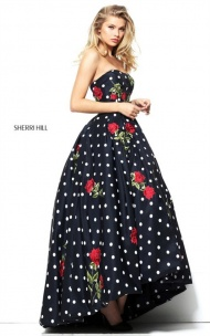 2017 Sherri Hill 50945 Rose Floral Print Strapless Polka Dot Hi-Low Long Dress