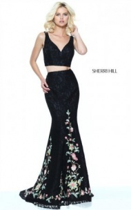 Black/Multi Floral Appliqued Lace Slim 2-PC Mermaid Gown By Sherri Hill 50778