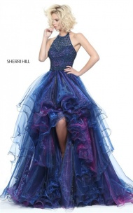 2017 Sherri Hill Navy 51140 Beaded Halter Tiered Layered Hi-Low Gown Sale