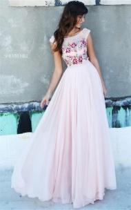 Embellished Sherri Hill 51249 Blush Illusion V-back Prom Dress 2017