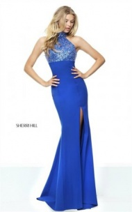 Beaded High Neck Sherri Hill 50841 Cutout Royal Slit Evening Dress 2017
