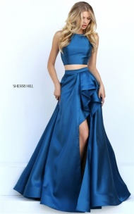 Cheap Teal Cutout Back 2-Piece Ruffled Slit Prom Dress By Sherri Hill 50751