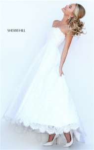 Sherri Hill Ivory Style 50490 Stones Strapless Evening Dress Outlet