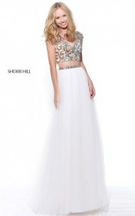 Ivory Colored Beaded 2 PC A-Line Slit Princess Dress By Sherri Hill 51166