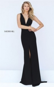 Elegant Sherri Hill 50839 Plunging Cutout High Slit Black Evening Dress 2017