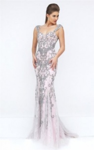 Grey/Pink Crystals Deep V-Back Fitted Mermaid Gown By Sherri Hill 50276