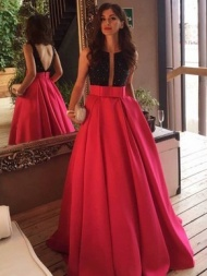 Princess Scoop Neck Red Satin Sashes / Ribbons Sweep Train Backless Sexy Formal Dresses