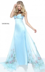 Empire Sherri Hill 51210 Ruched Strapless Fitted Blue Floral Print Long Dress