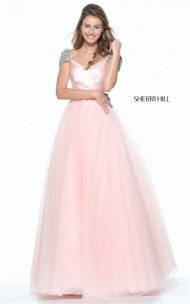 Blush Ruched Style 50863 A-Line Crystal Dress By Sherri Hill Prom 2017