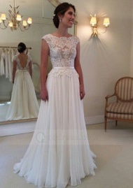 A-line Cap Sleeves Bateau Appliqued Open Back Chiffon Sweep Train Wedding Dress