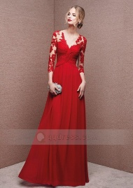A-line V-neck Floor-length Button Back Chiffon Prom Dress Evening Gowns with Appliques