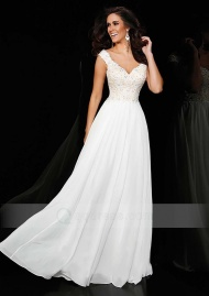 A-line V-neck Sweep Train Chiffon Prom Dress with Appliqued Beaded