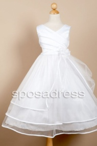 Custom Made V Neck Ankle Length White First Communion Dress