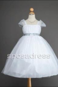 Cap Sleeve Tea Length Ball Gown First Communion Dress